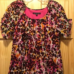 Sara Michelle multi color short sleeve top size PS